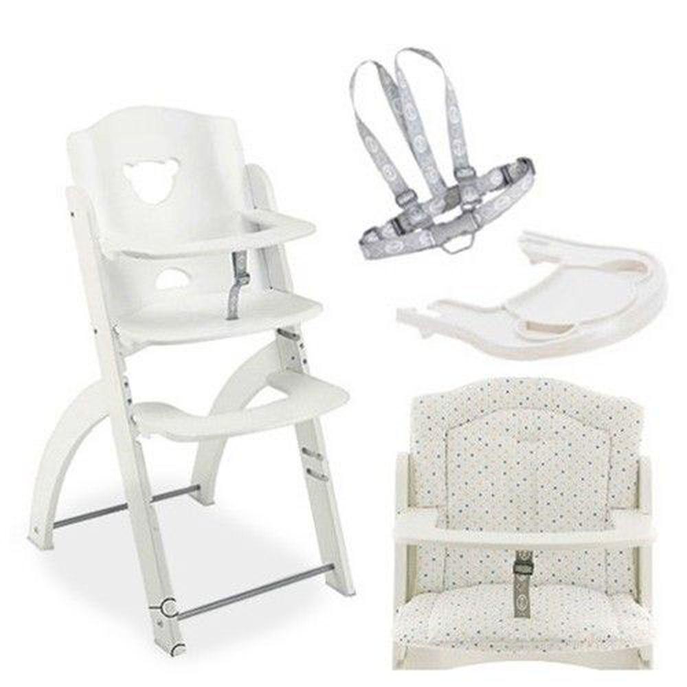 義大利 Pali - Pappy Re 熊寶寶成長餐椅組-白色-含點點坐墊、白色小熊餐盤、安全帶