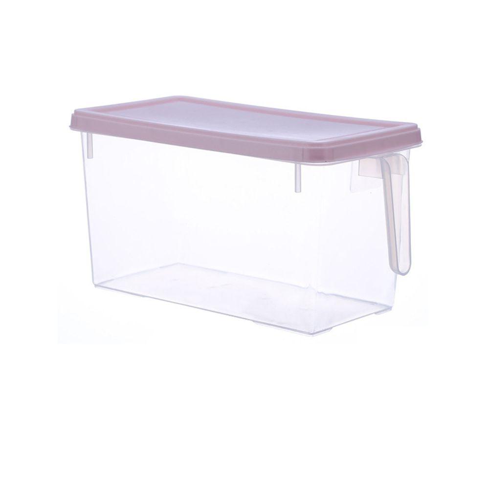 長方形透明附蓋收納盒-有把手款-粉色