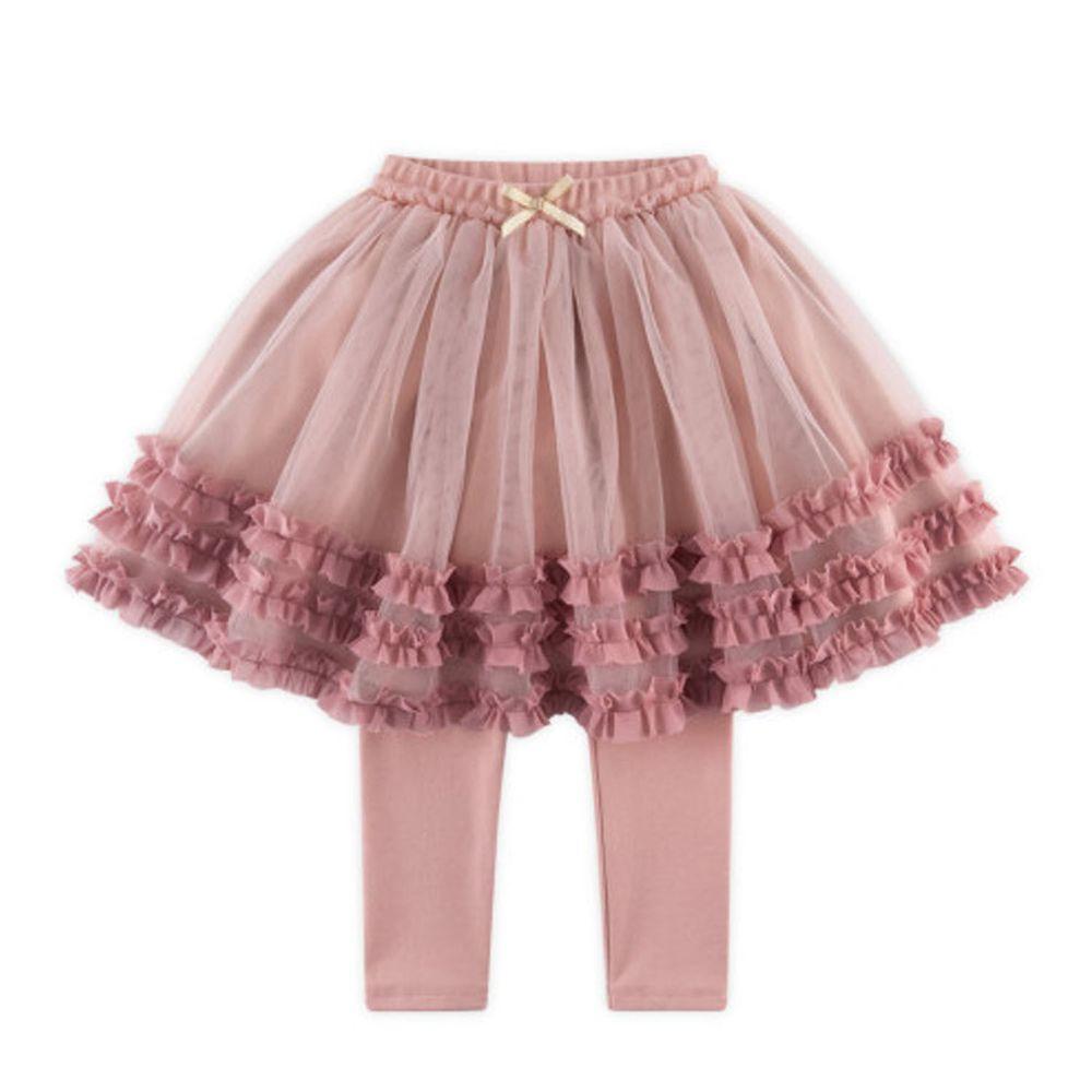 韓國 WALTON kids - 荷葉裝飾網紗褲裙-粉紅