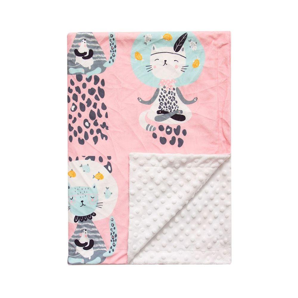 JoyNa - 雙層印花泡泡毯 嬰兒被被-魚缸貓 (76*84cm)