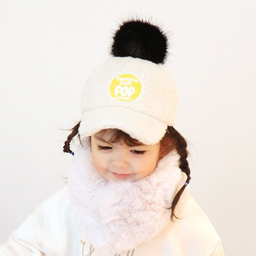 韓國 Babyblee - POP搖粒絨棒球帽-米白 (FREE)
