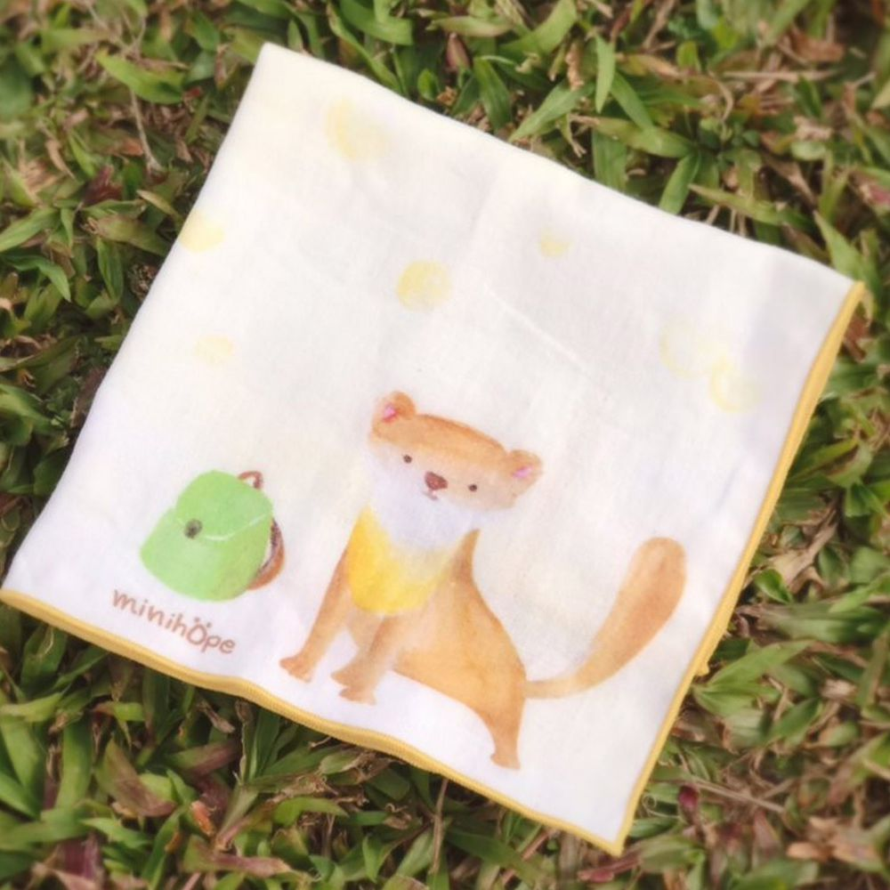 minihope美好的親子生活 - 想旅行的野豬-有機棉雙層紗手帕 (28x28cm)