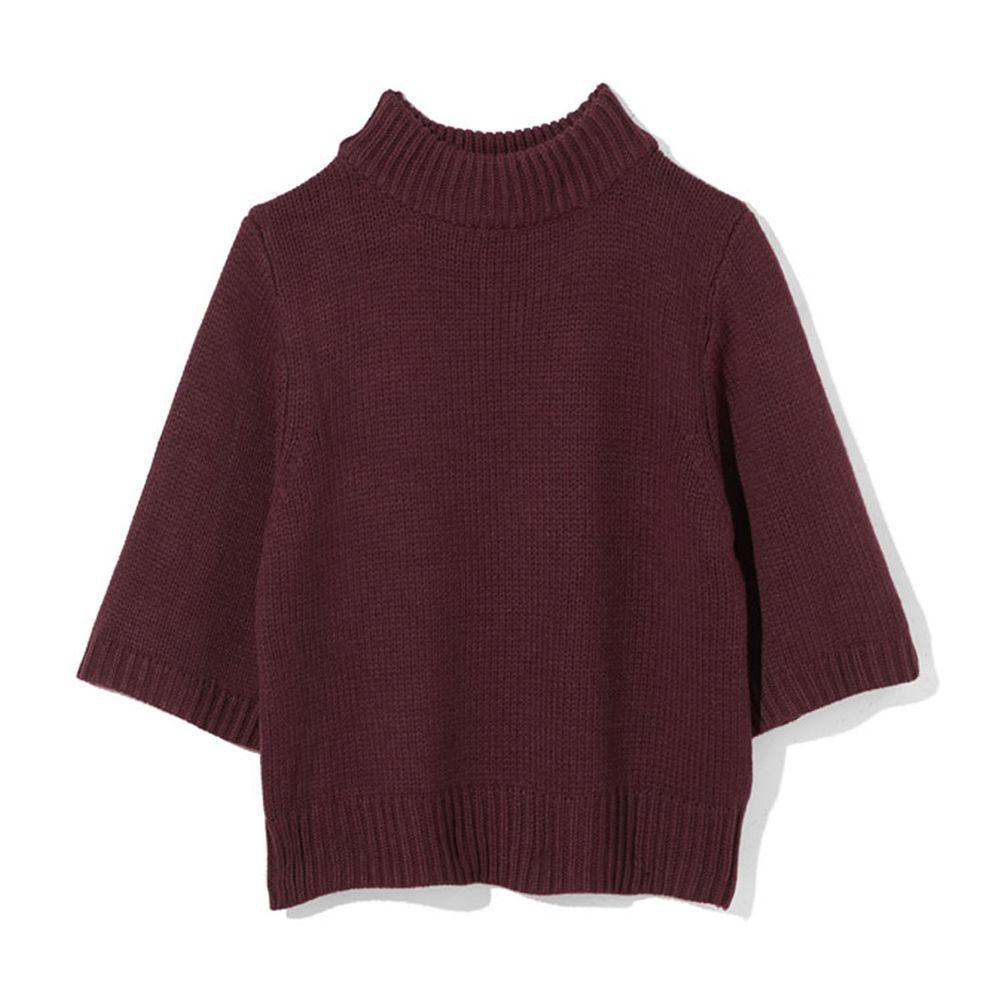 日本 GRL - 寬版顯瘦小高領七分袖針織上衣-酒紅