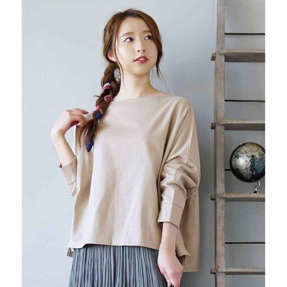 日本 zootie - [撥水/撥油加工] 抗油污耐洗純棉長袖上衣-杏