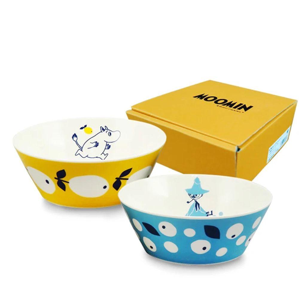 日本山加 yamaka - moomin 嚕嚕米彩繪陶瓷碗禮盒-MM0313-79-2入組
