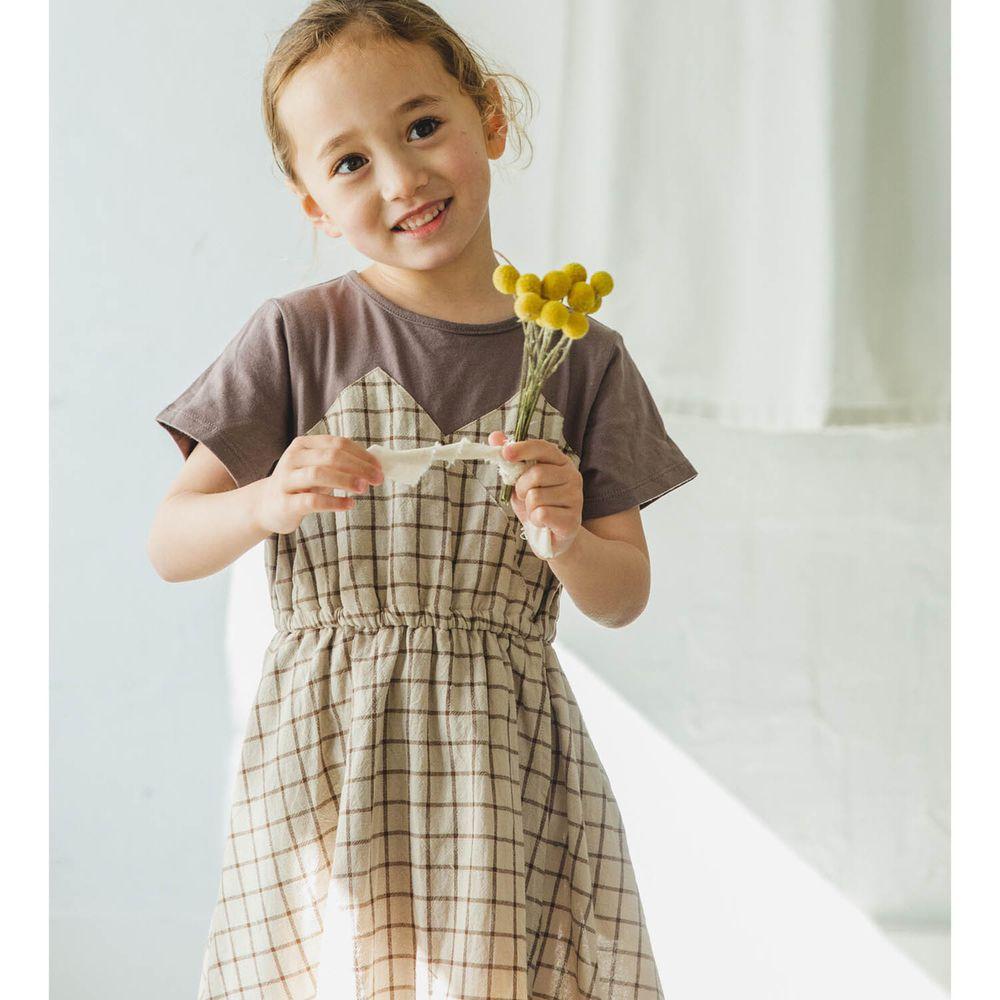 日本 PAIRMANON - 純棉假兩件拼接短袖洋裝-格紋-摩卡X杏