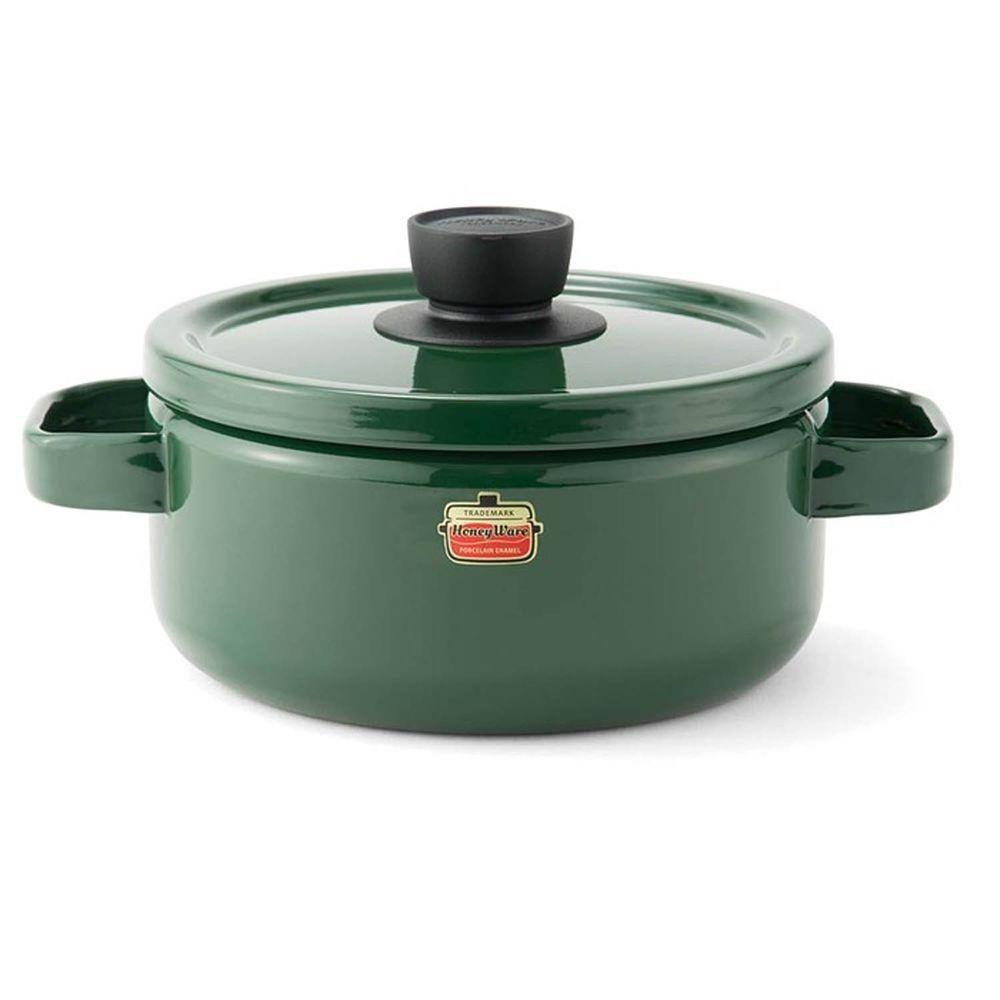 FUJIHORO 富士琺瑯 - Solid 經典系列-20cm雙耳附蓋琺瑯鍋-森林綠-容量:3.0L 重量:1.45kg