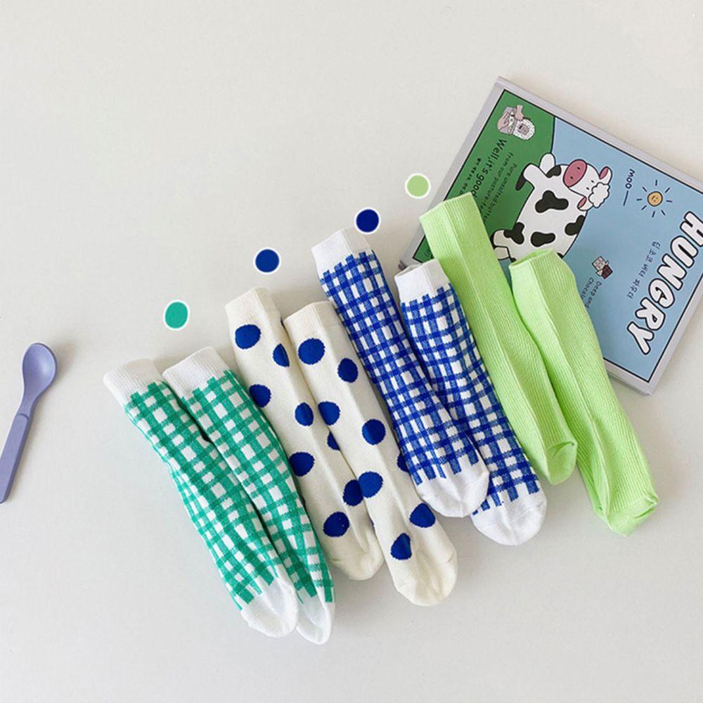 藍綠色格子波點中筒襪 (4雙一組)
