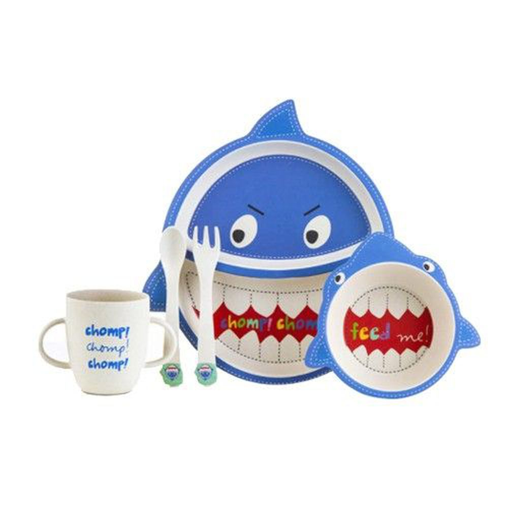 coeco - 竹纖維動物造型兒童餐具五件組-鯊魚