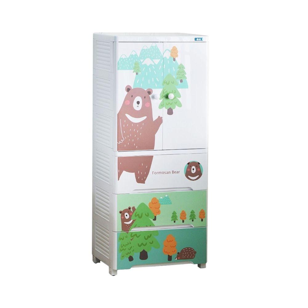 家窩 - 福爾摩沙雙開門三抽兒童吊掛衣櫃-(送兒童衣架&除溼乾燥劑組)-山上有熊