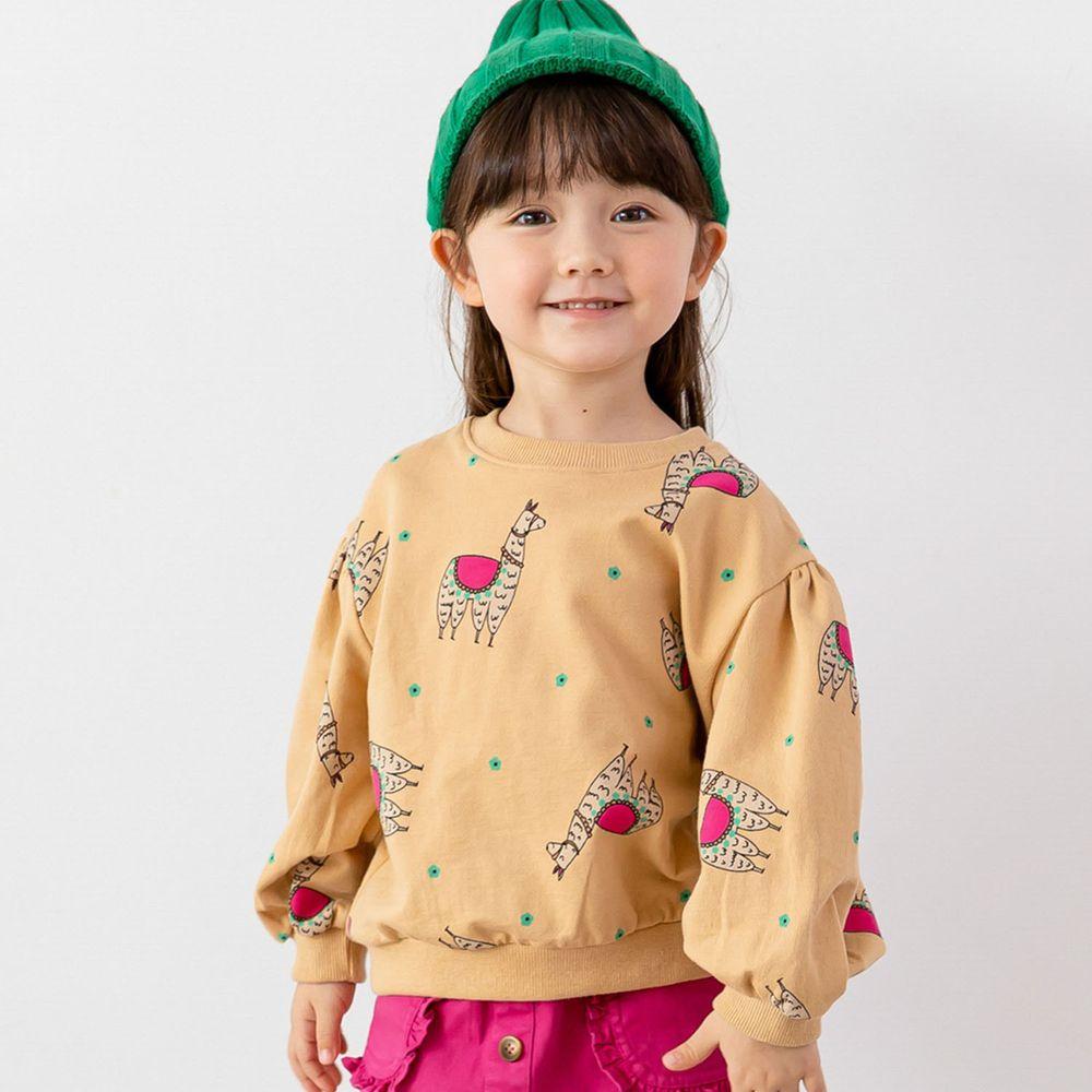 韓國 ERU - 駱馬泡泡袖T-杏