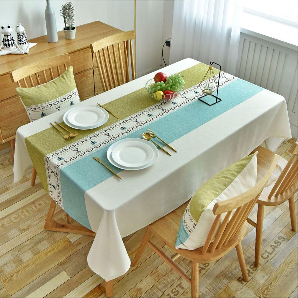 防水防油免洗桌布-北歐圖騰-藍綠色