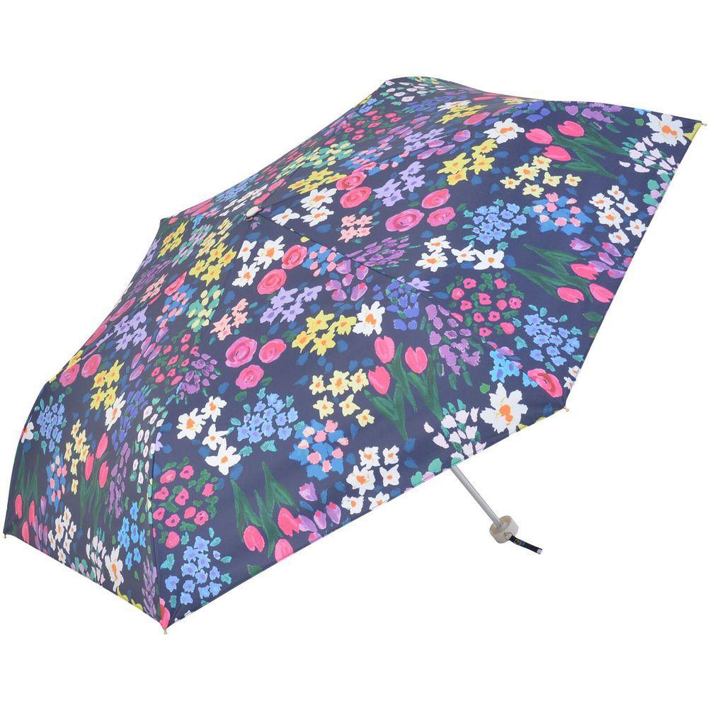 日本 nifty colors - 抗UV輕量 晴雨兩用折疊傘(遮光遮熱款)-百花齊放-深藍 (直徑98cm)-99.9%