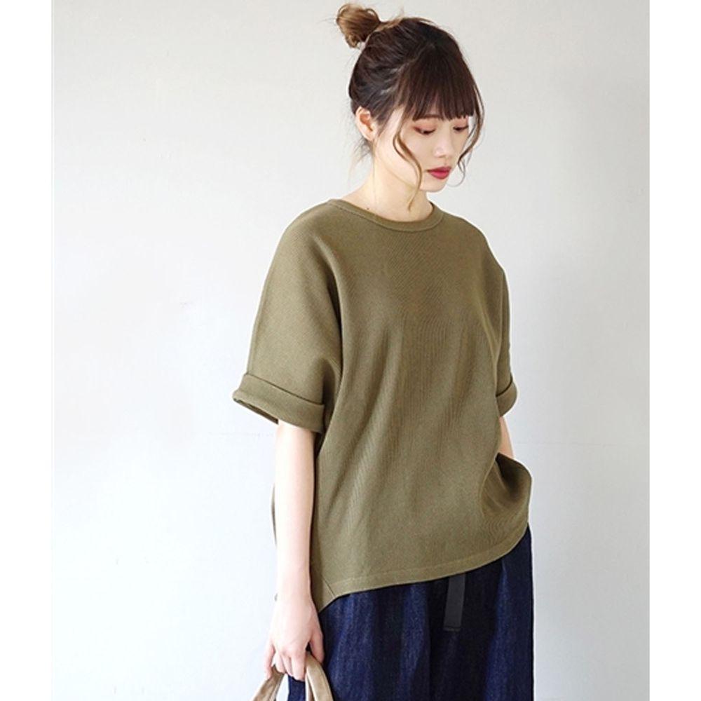 日本 zootie - 純棉鬆餅紋顯瘦五分袖寬版上衣-墨綠
