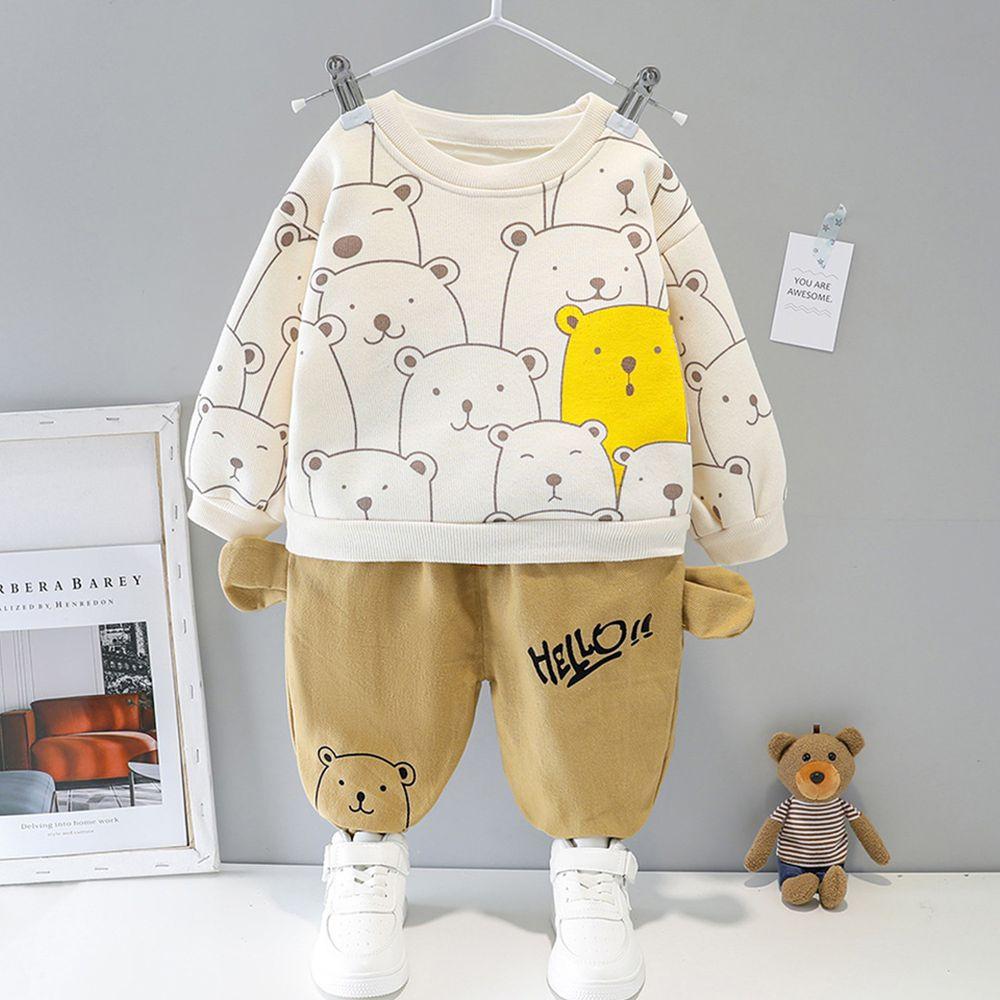 熊熊潮酷加絨套裝-上衣+褲子-白色