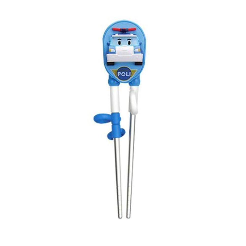 EDISON 愛迪生 - POLI 波力 救援小英雄 兒童不銹鋼學習筷-3D立體款-藍-右手