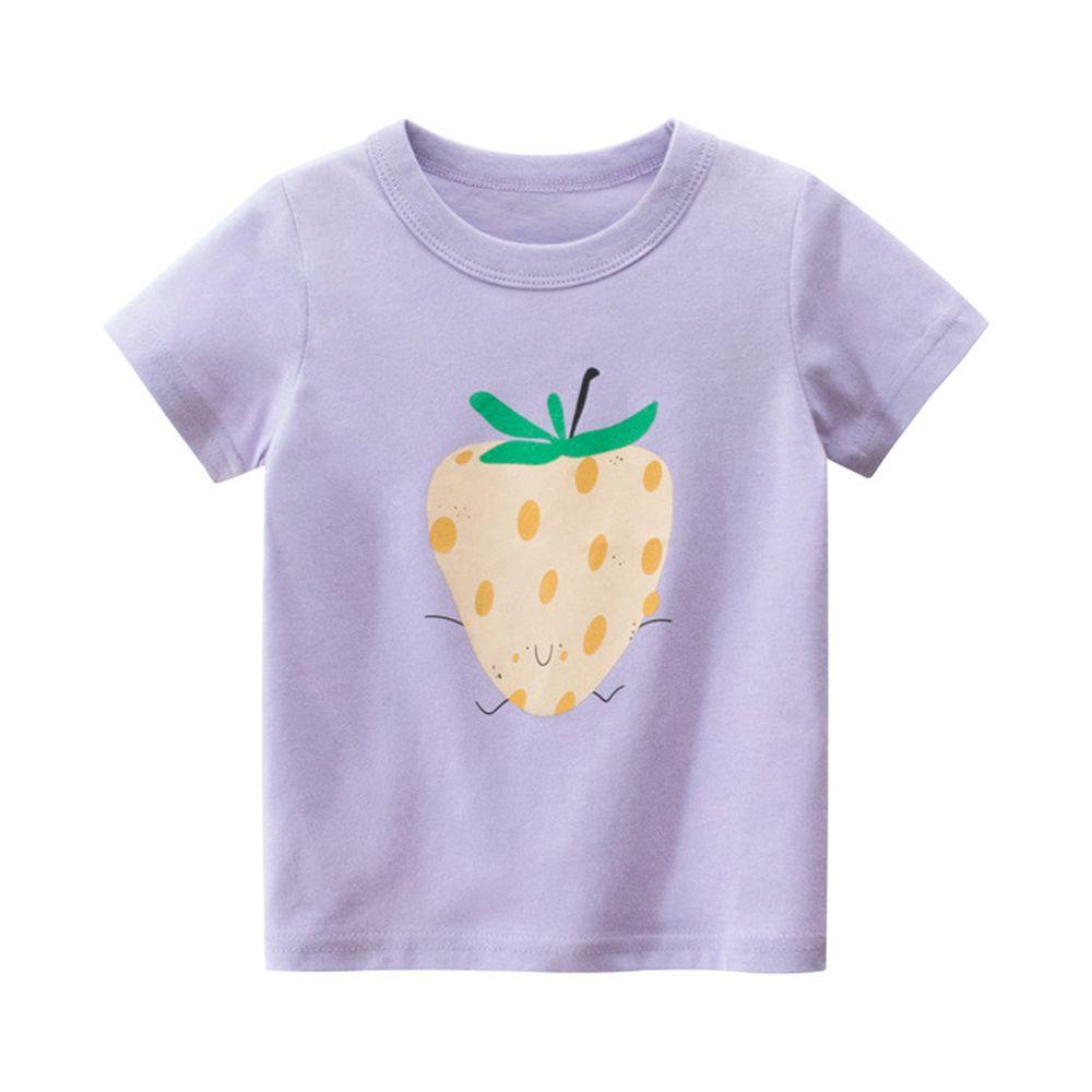 純棉短袖上衣-草莓-紫色