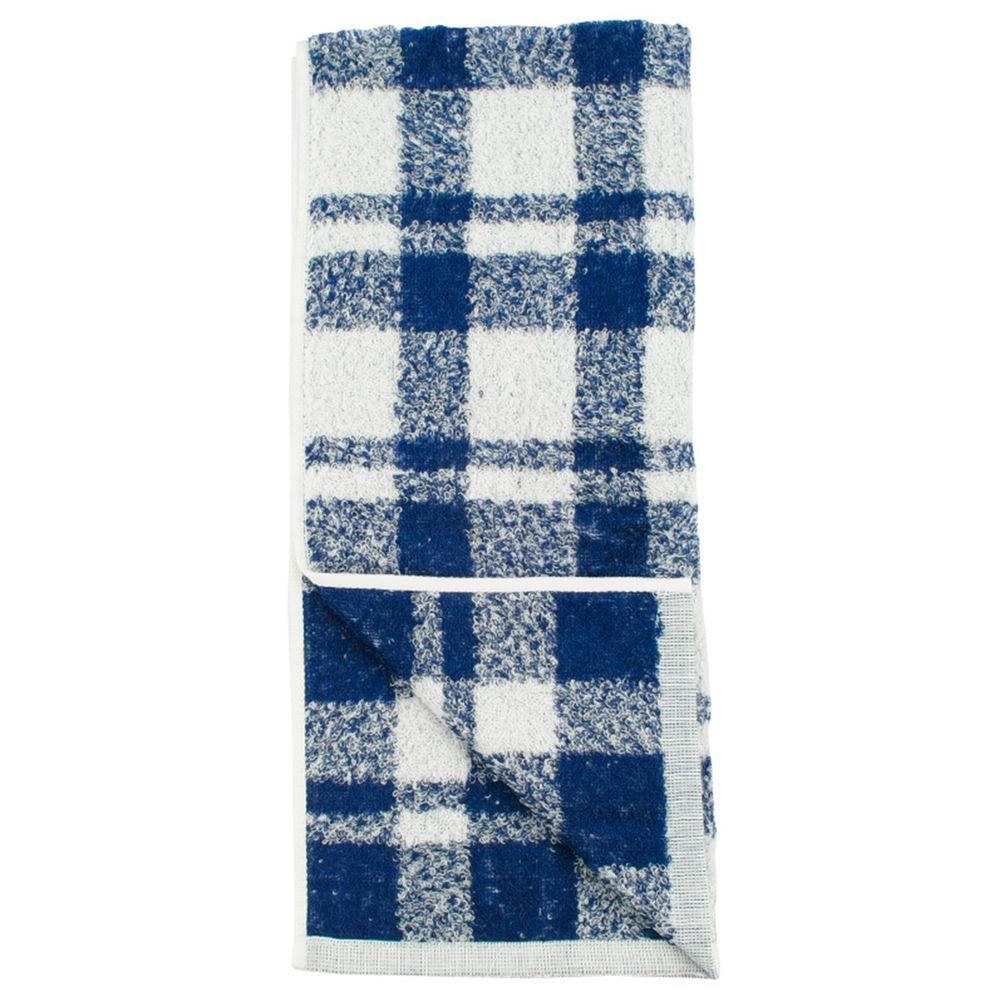 akachan honpo - 今治洗臉巾-格紋-深藍色 (34×80cm)