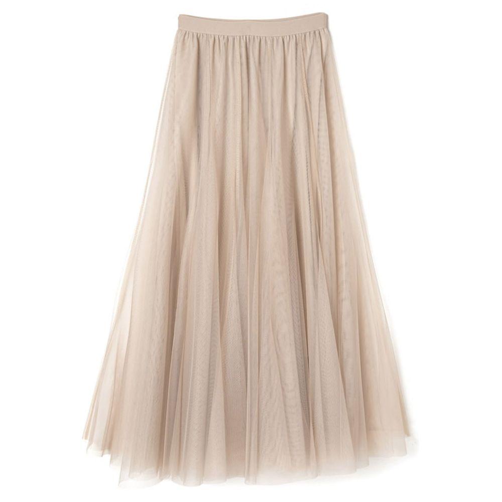 日本 GRL - 飄逸顯瘦雙層傘紗裙-奶茶杏 (M)