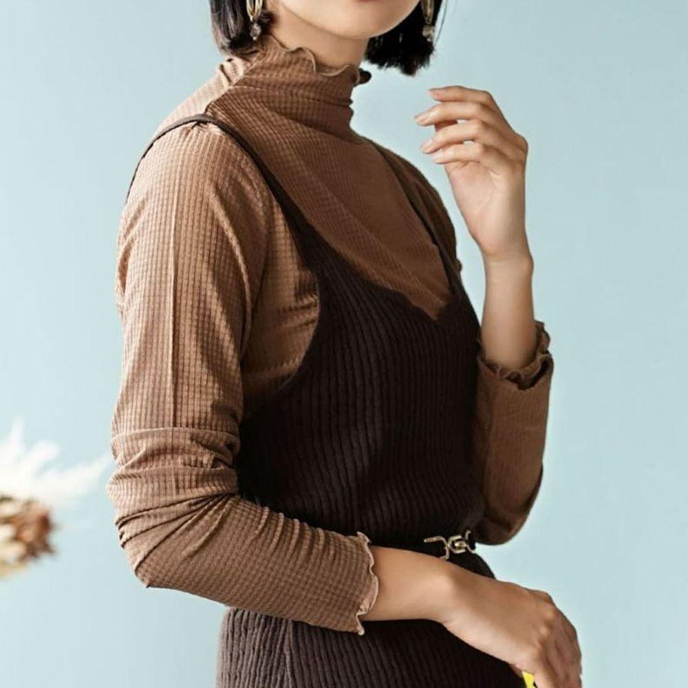 日本 zootie - 透明立體格子紋木耳邊透膚輕薄長袖上衣-摩卡
