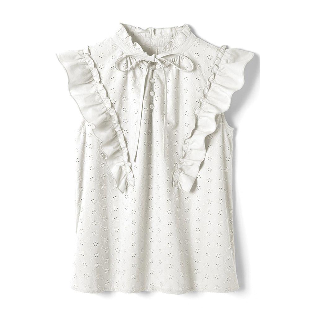 日本 GRL - 小雕花荷葉V領綁帶無袖上衣-純白 (F)