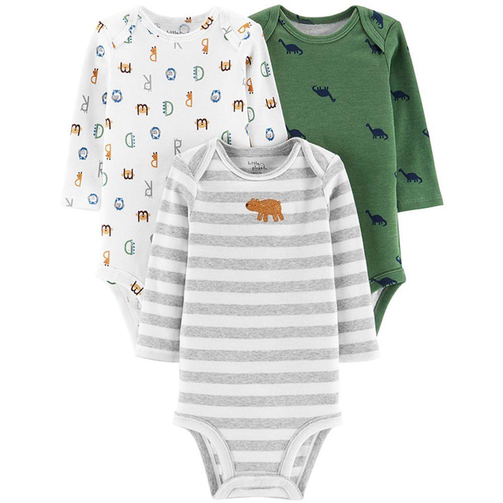 美國 Carter's - 嬰幼兒長袖包屁衣三件組(有機棉)-動物字母