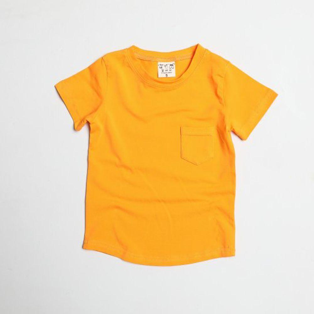 韓國製 - 水洗加工布口袋T-橘