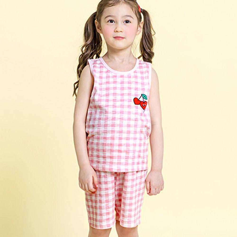 韓國 Maykids - 有機棉細柔無袖家居服-粉格子櫻桃
