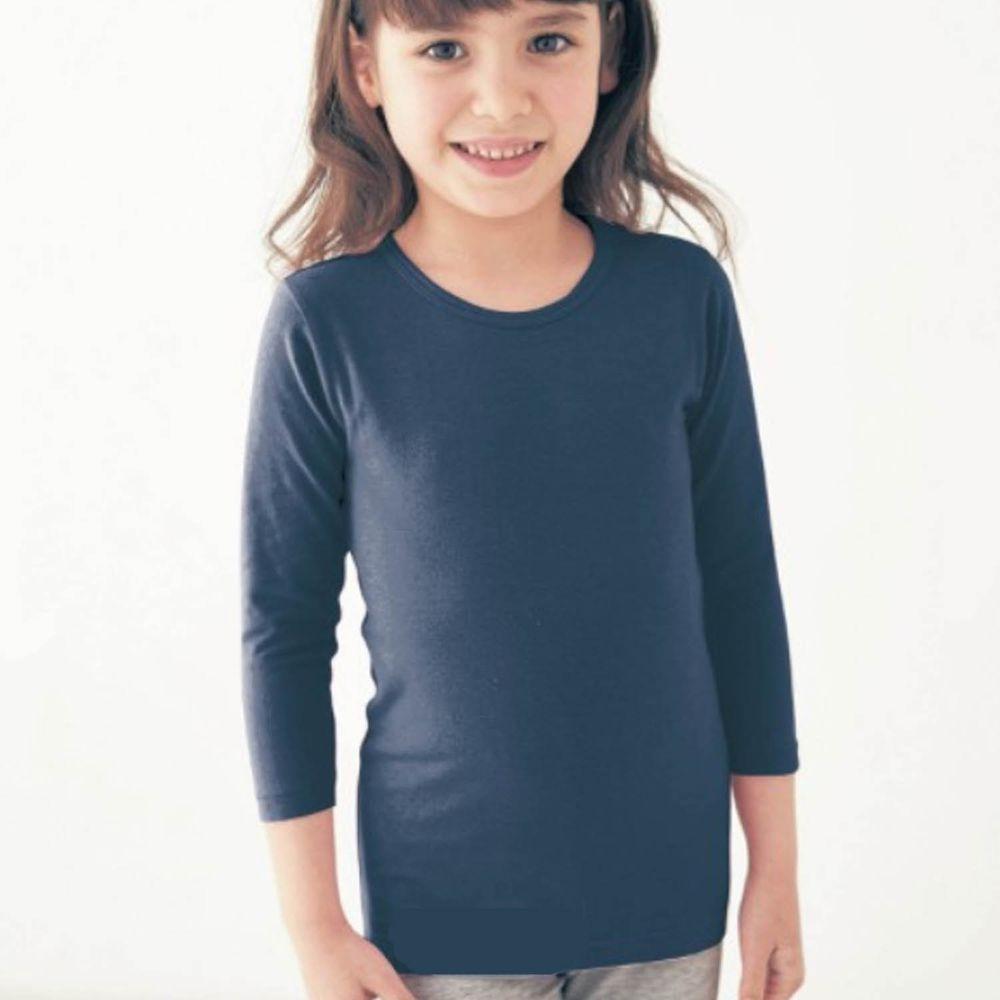 日本千趣會 - 95%棉 (兒童)圓領九分袖發熱衣-深藍