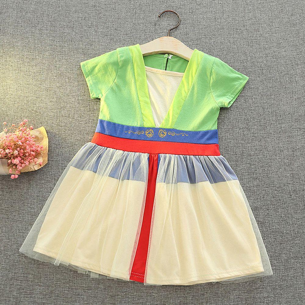 短袖造型公主裙-黃綠色