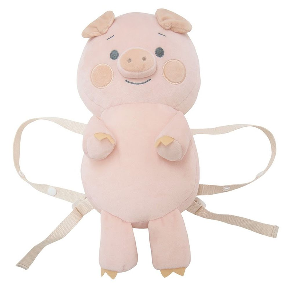 akachan honpo - 嬰兒防護枕背包 小豬-粉紅色 (本體約32x18cm)