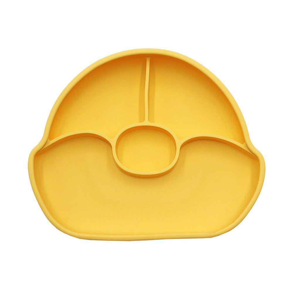 FARANDOLE 法紅荳 - 分格不翻盤-防滑矽膠餐盤禮盒-黃色
