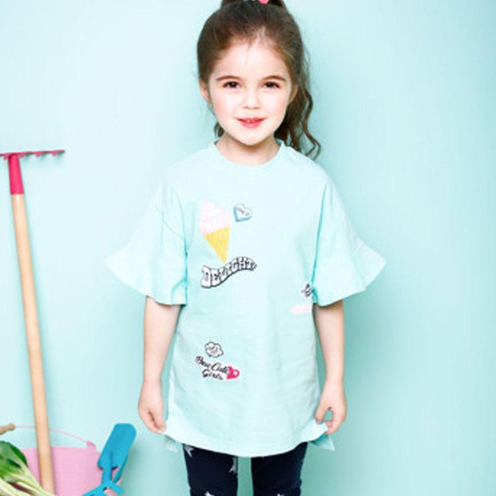 韓國 Jelispoon - 落肩荷葉袖冰淇淋長版上衣-薄荷綠