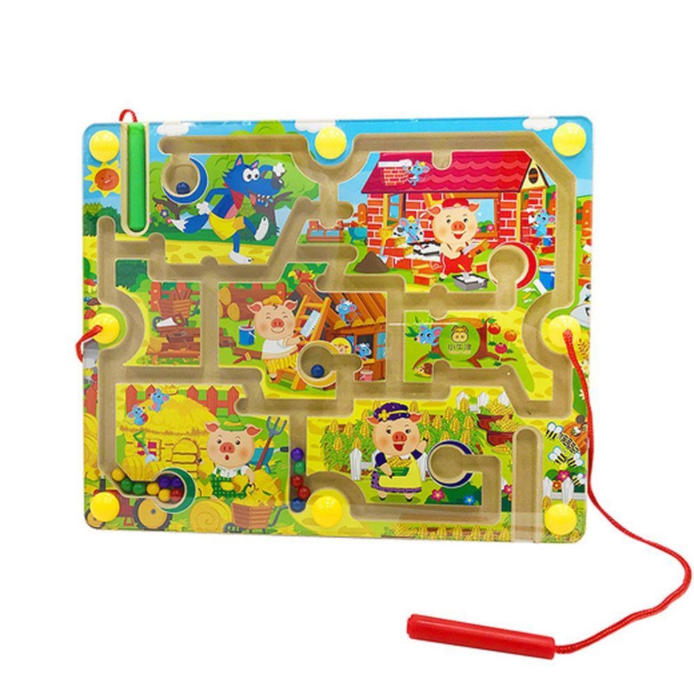 小牛津 - 童話故事運筆迷宮-三隻豬仔蓋房子 (32.8*25.7*4.5cm)-木製故事迷宮基座、雙磁筆