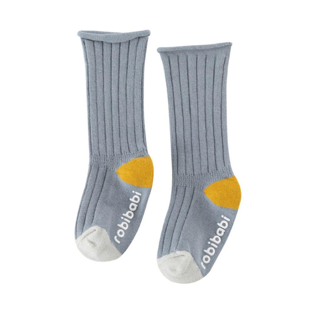 JoyNa - 簡約撞色 長筒鬆口薄襪(底部止滑)-煙藍色