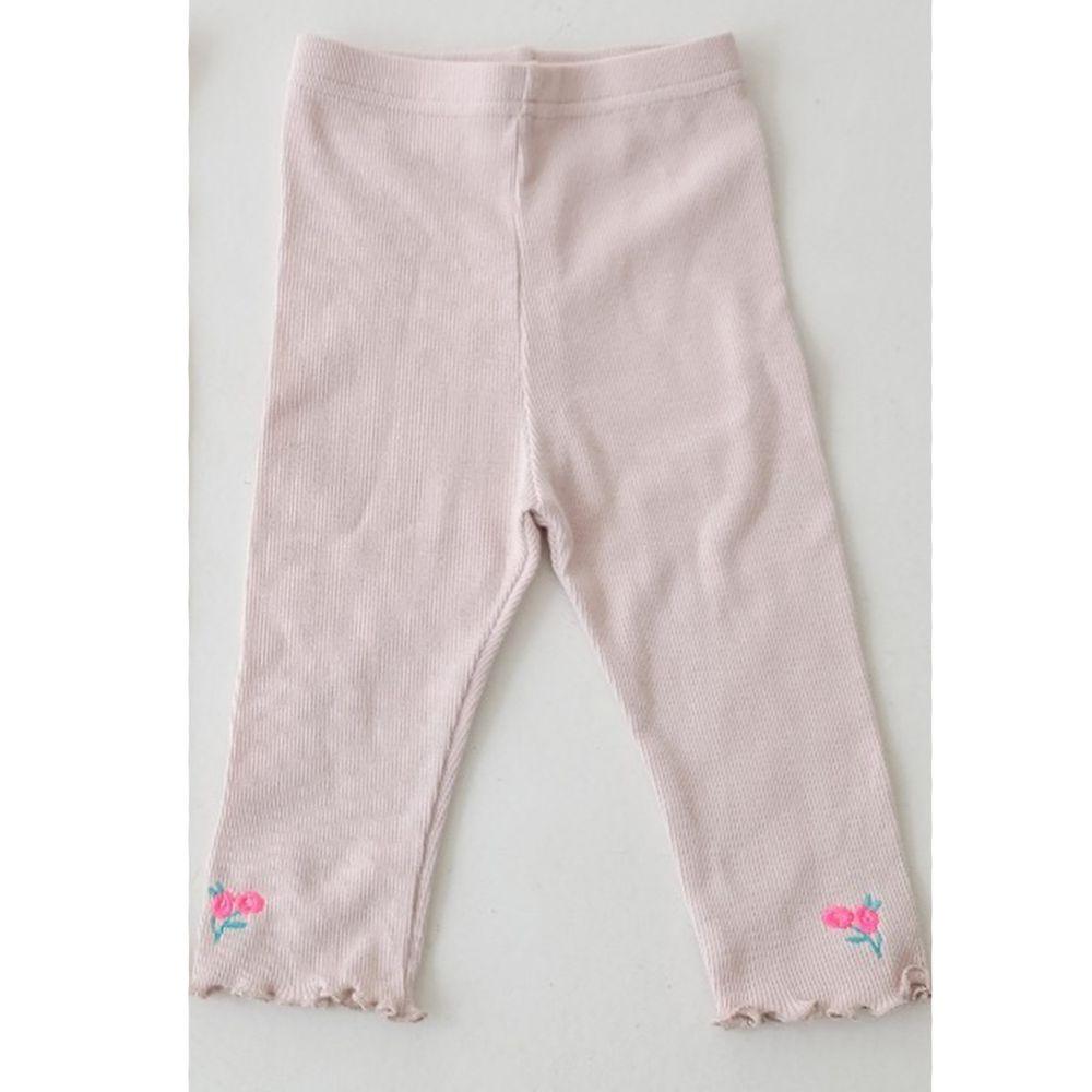 韓國 Mimico - 刺繡小花朵羅紋內搭褲-粉紅