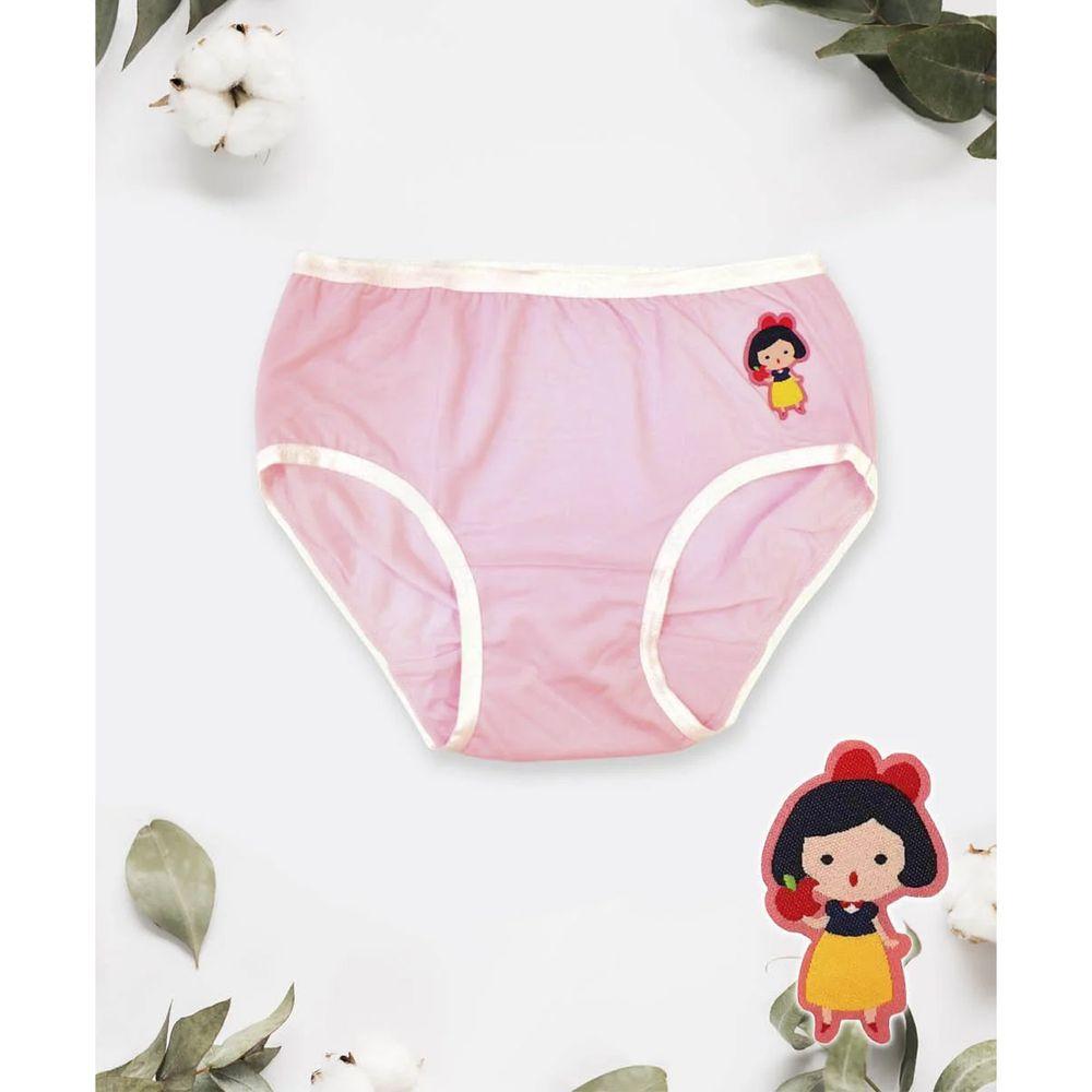 貝柔 Peilou - 天絲棉舒膚平衡童女三角褲-貼布繡-白雪公主-粉