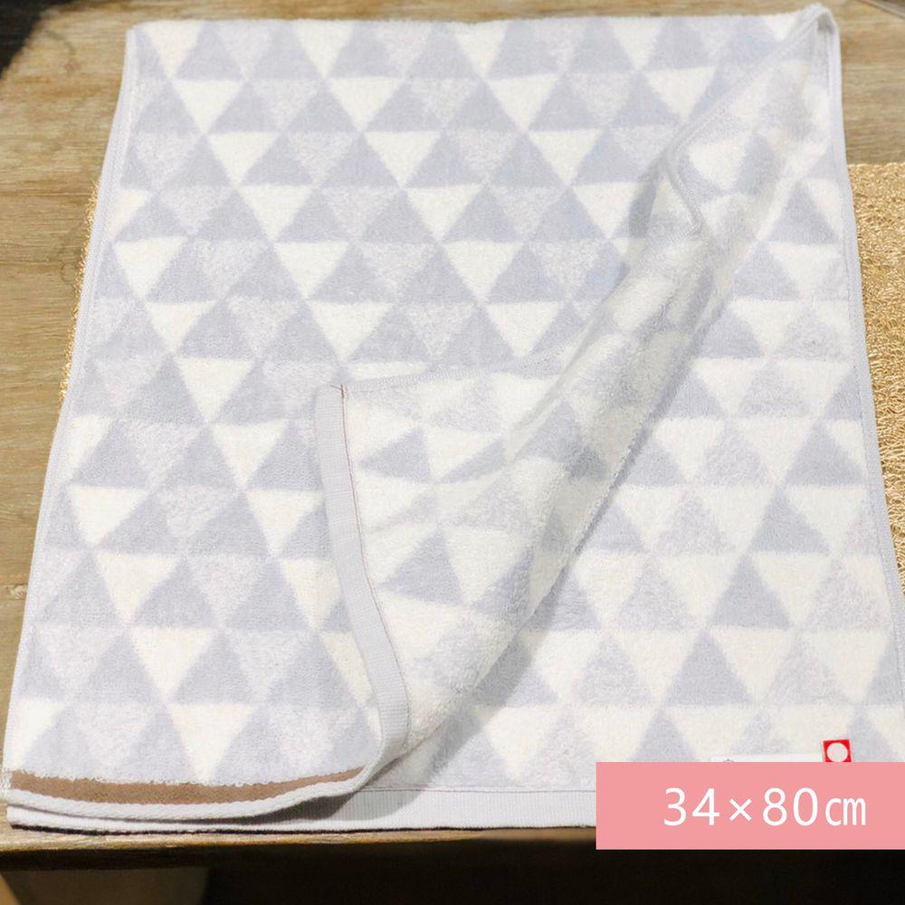 日本代購 - 【HartWELL】 日本今治產超長棉長毛巾-三角幾何-灰 (34×80㎝)