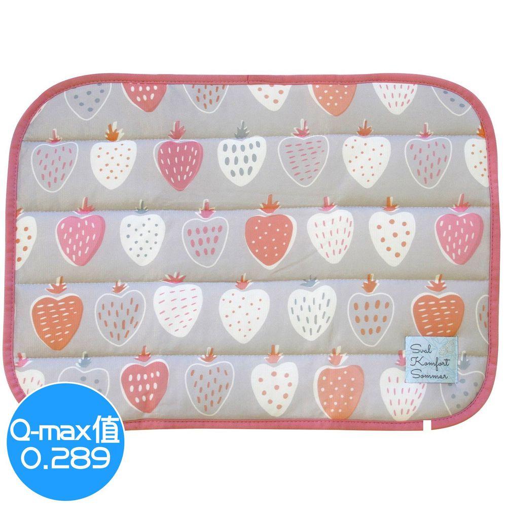 日本 DAIKAI - 接觸涼感枕頭套-草莓-灰粉 (50x37cm)