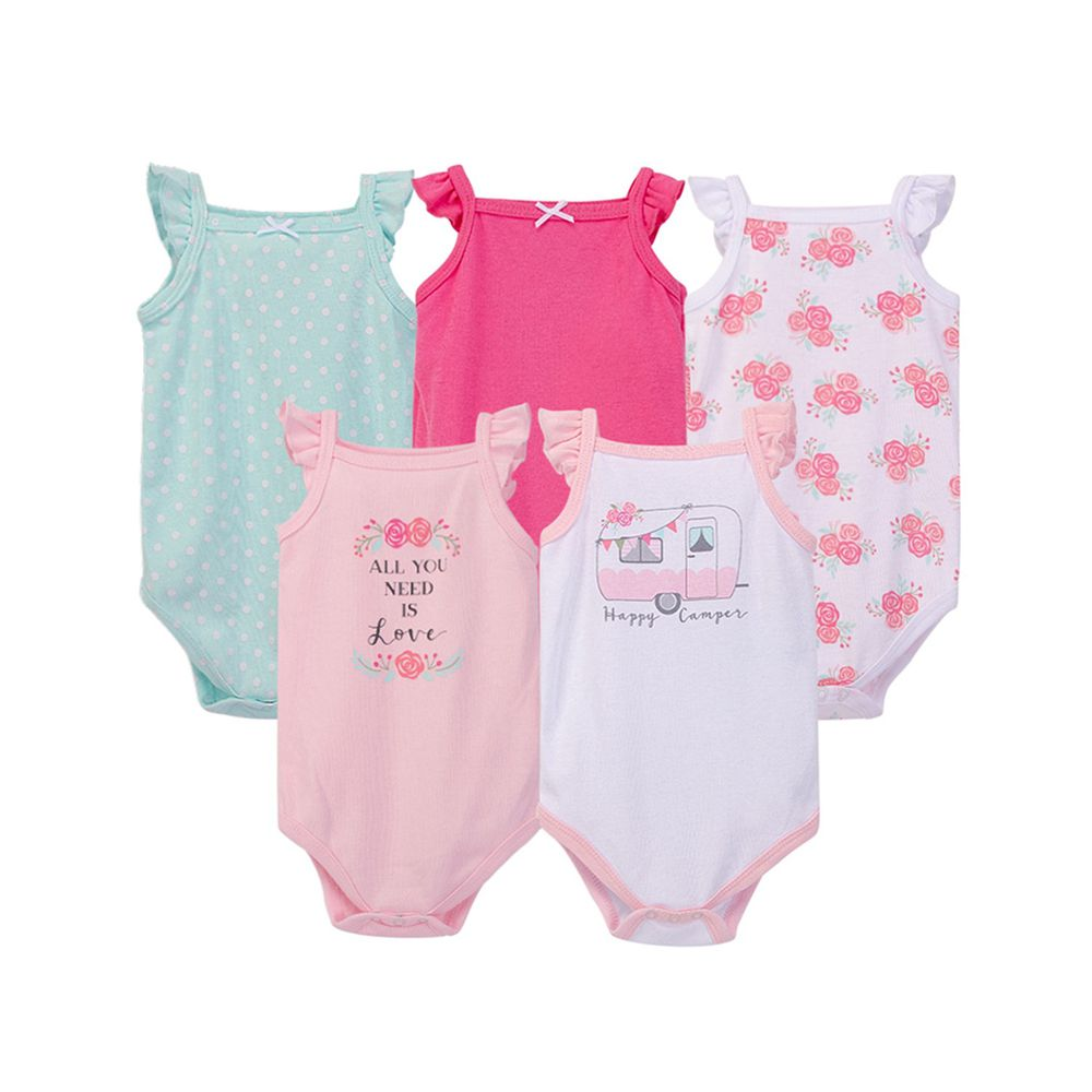 美國 Luvable Friends - 100%純棉嬰幼兒短袖包屁衣5件組-粉色玫瑰