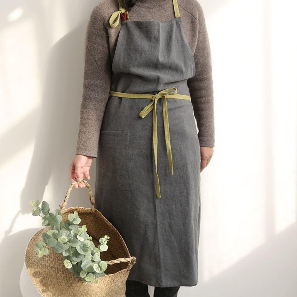前繫帶雙色棉麻圍裙-灰色