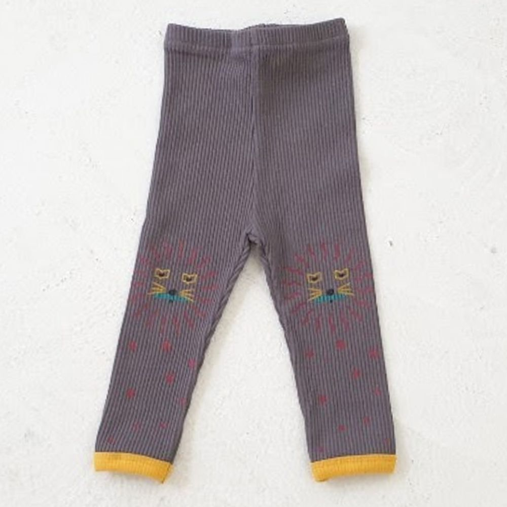 韓國 Mimico - 星星動物螺紋內搭褲-深灰