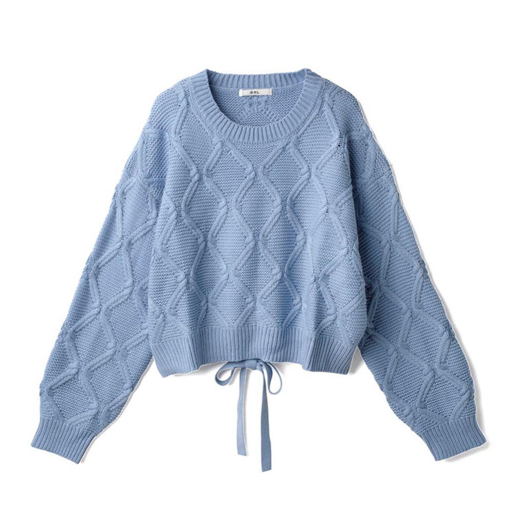 日本 GRL - 螺旋針織後腰蝴蝶結設計針織上衣-寶貝藍