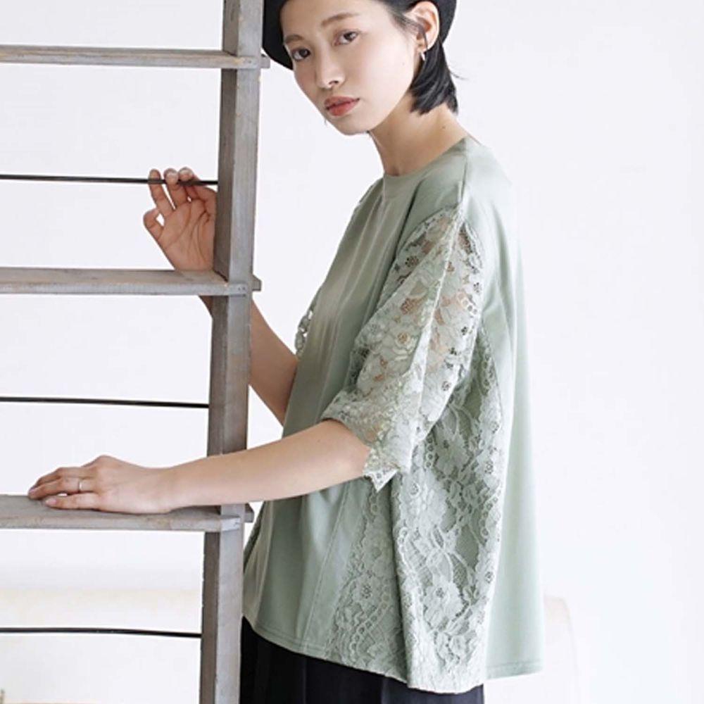 日本 zootie - 蕾絲雕花拼接五分袖上衣-薄荷綠