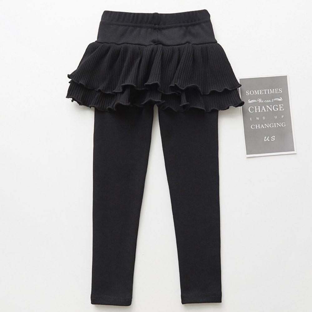 FANMOU - 內搭褲裙-雙層蛋糕裙擺-黑色