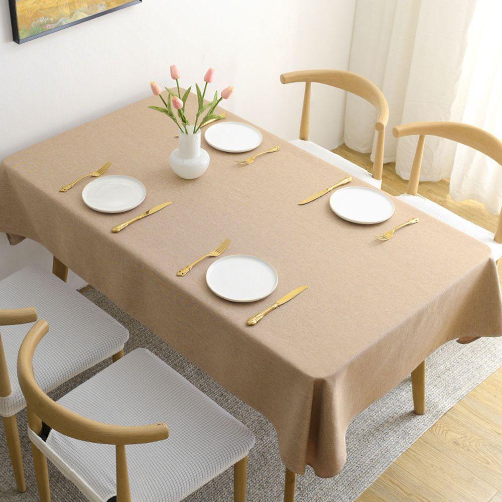 棉麻防水防髒桌布-淺咖啡色