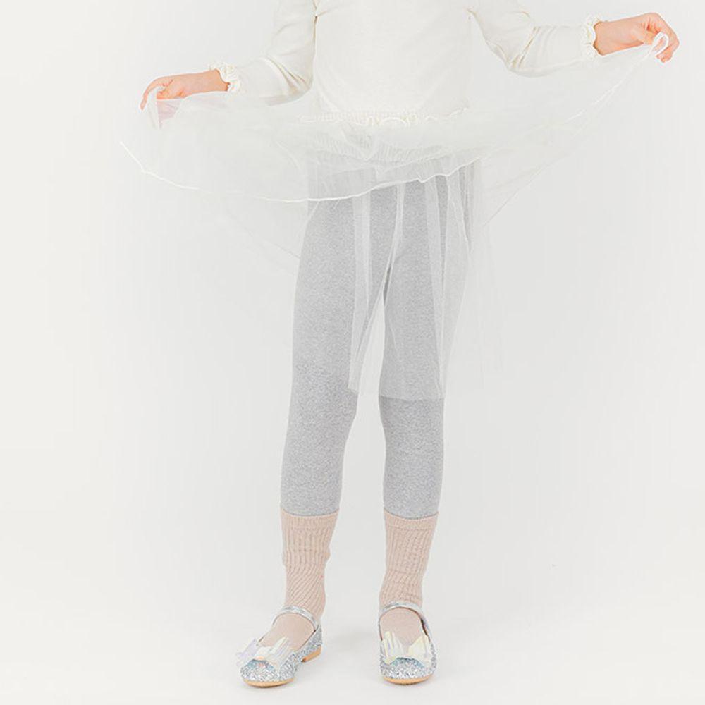 韓國 OZKIZ - 單層網紗褲裙-灰X象牙白
