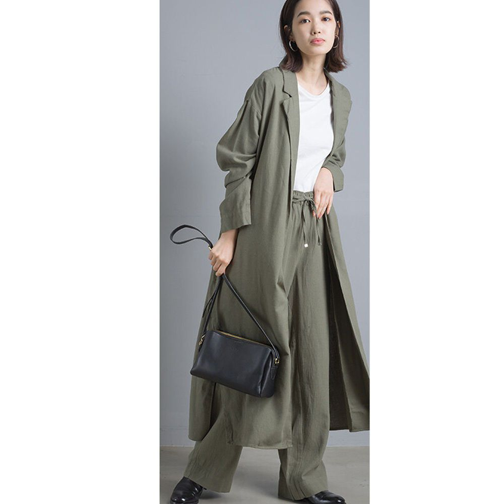 日本女裝代購 - 質感棉麻長版風衣外套-卡其