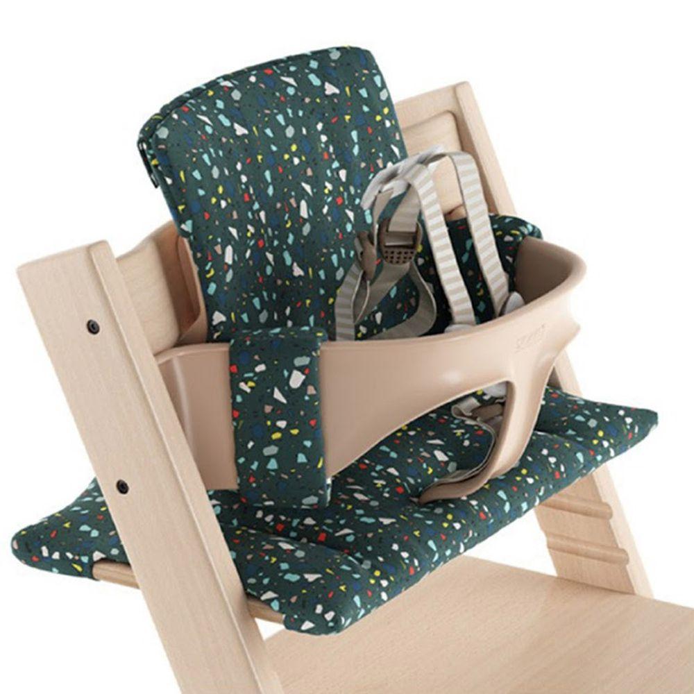 Stokke - Tripp Trapp 成長椅經典座墊(不含椅子本體)-墨綠玉彩點