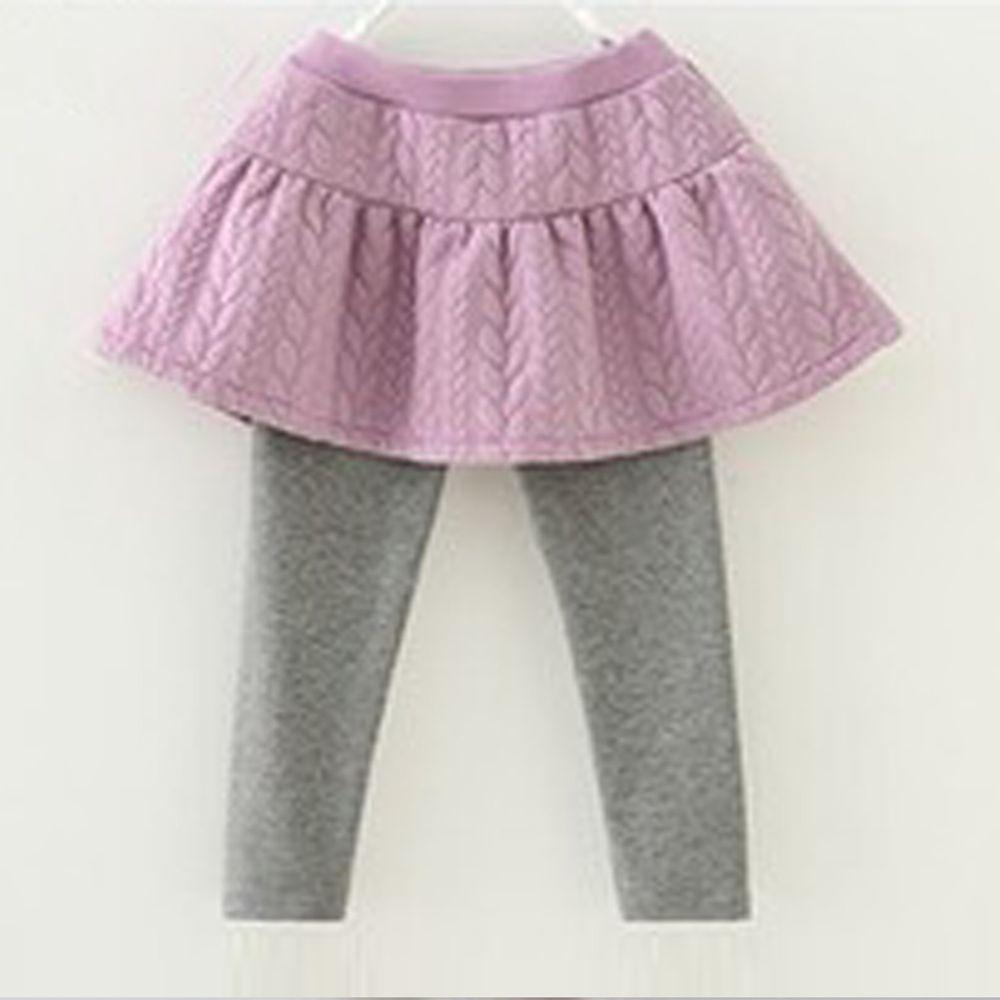 日本 Maison de Ravi - 薄裡起毛編織紋內搭褲裙-薰衣草